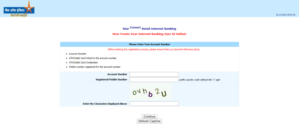 bank of india net banking New User Registration