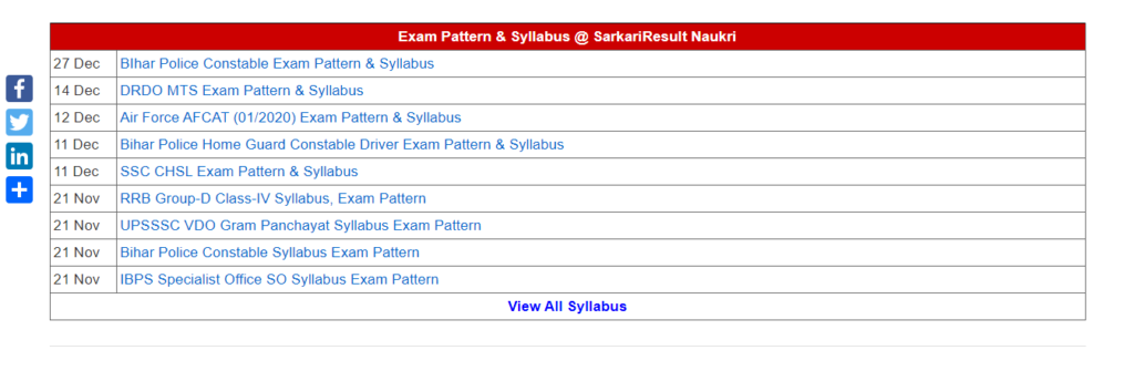 SarkariResult Naukri Exam Pattern & Syllabus