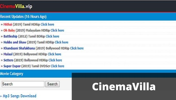 CinemaVilla 2021 - Download Latest Bollywood, Hollywood, Tamil Movies
