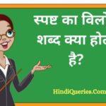 स्पष्ट का विलोम शब्द क्या होता है? | Spasht Ka Vilom Shabd in Hindi