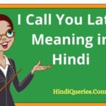I Call You Later Meaning in Hindi